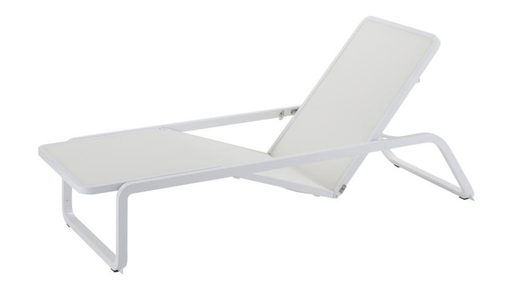 Riva Adjustable Chaise Lounge with white sling seat & back. New from Gloster.