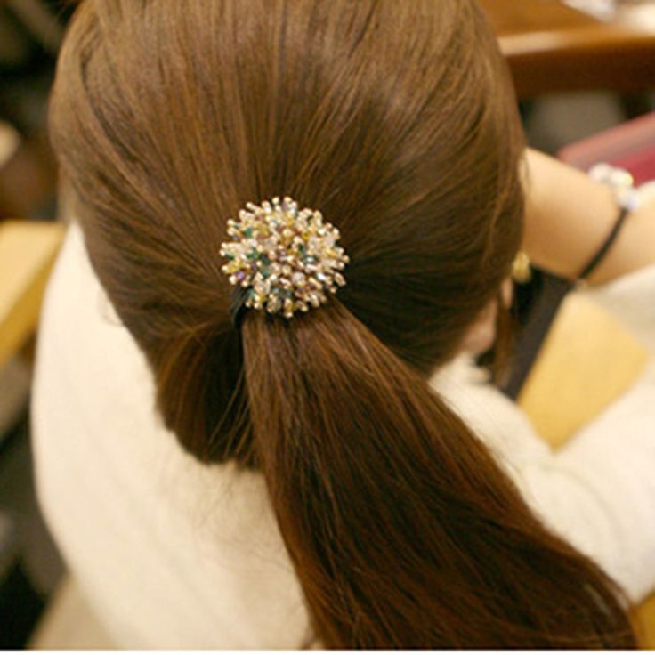 New Korean Little Colorful Shining Crystal Balls Elastic Hair Bands Clips Headbands Hair Accessories for Women & Girls