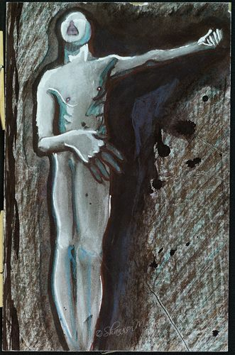 #art Wailing Man (6 1/2 x 10 1/2 original) Media: Paint/Pencil on Cardboard
