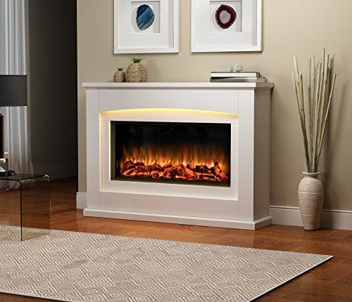 From 51.99 Danby Electric Fireplace Suite Glass Fronted Electric Fire 220/240vac 1&2kw With Multi Function Remote Control In A Very Light Cream Mdf Fireplace Suite.
