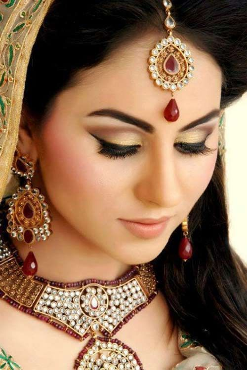 Jeweled Indian Bridal Hairstyle For Long Hair