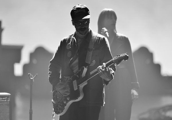 John Gourley Zoe Manville Photos - Image has been converted to black and white.) Recording artists John Gourley (L) and Zoe Manville of music group Portugal. The Man perform onstage during MusiCares Person of the Year honoring Fleetwood Mac at Radio City Music Hall on January 26, 2018 in New York City. - 60th Annual GRAMMY Awards - MusiCares Person Of The Year Honoring Fleetwood Mac - Show