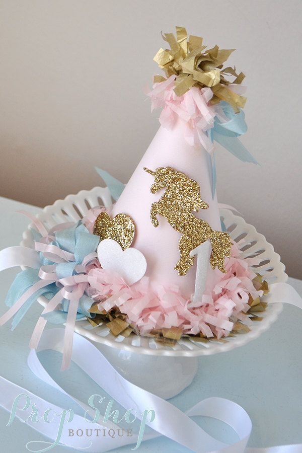 Unicorn Kisses Birthday Hat by propshopboutique on Etsy, $32.00