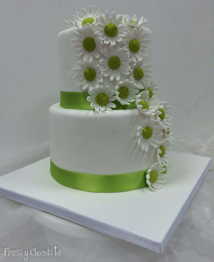 Tarta de boda margaritas verdes
