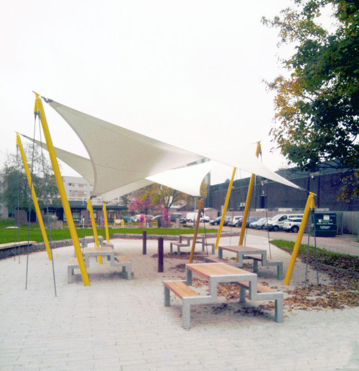 Falco manufactured and supplied five open design FalcoBloc picnic tables.