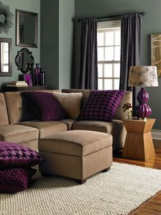 Gray Green Walls And Brown Couch Living Room Pinterest