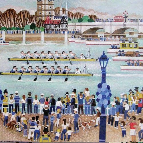 Alfred Daniels Fine Art Greetings Card Boat Race, Putney
