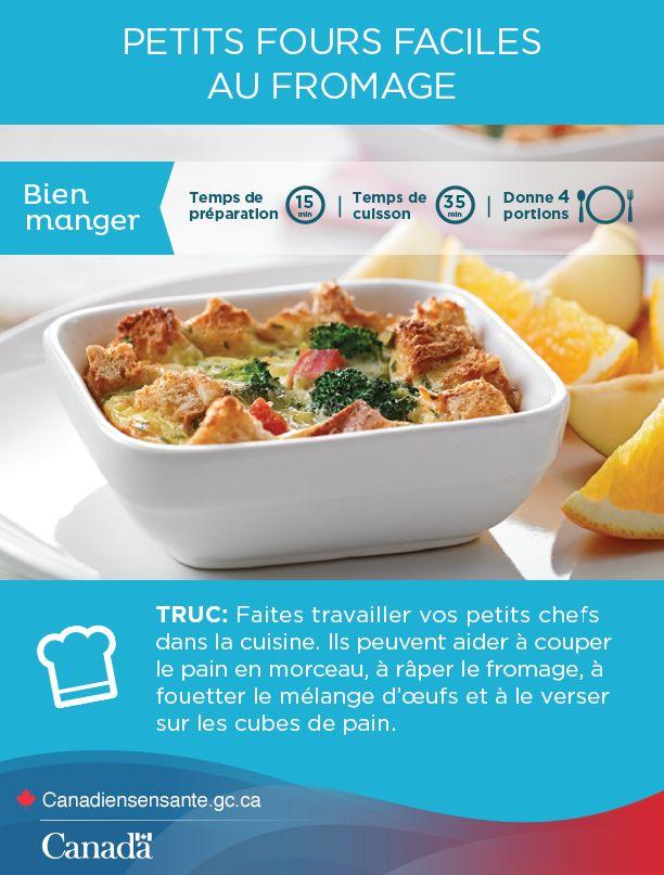 Une recette qui plaira aux enfants pour mettre du piquant à votre déjeuner. http://www.canadiensensante.gc.ca/eating-nutrition/healthy-eating-saine-alimentation/cheese-fromage-fra.php?utm_source=pinterest_hcdns&utm_medium=social&utm_content=Mar16_CheeseStratas_FR&utm_campaign=social_media_14
