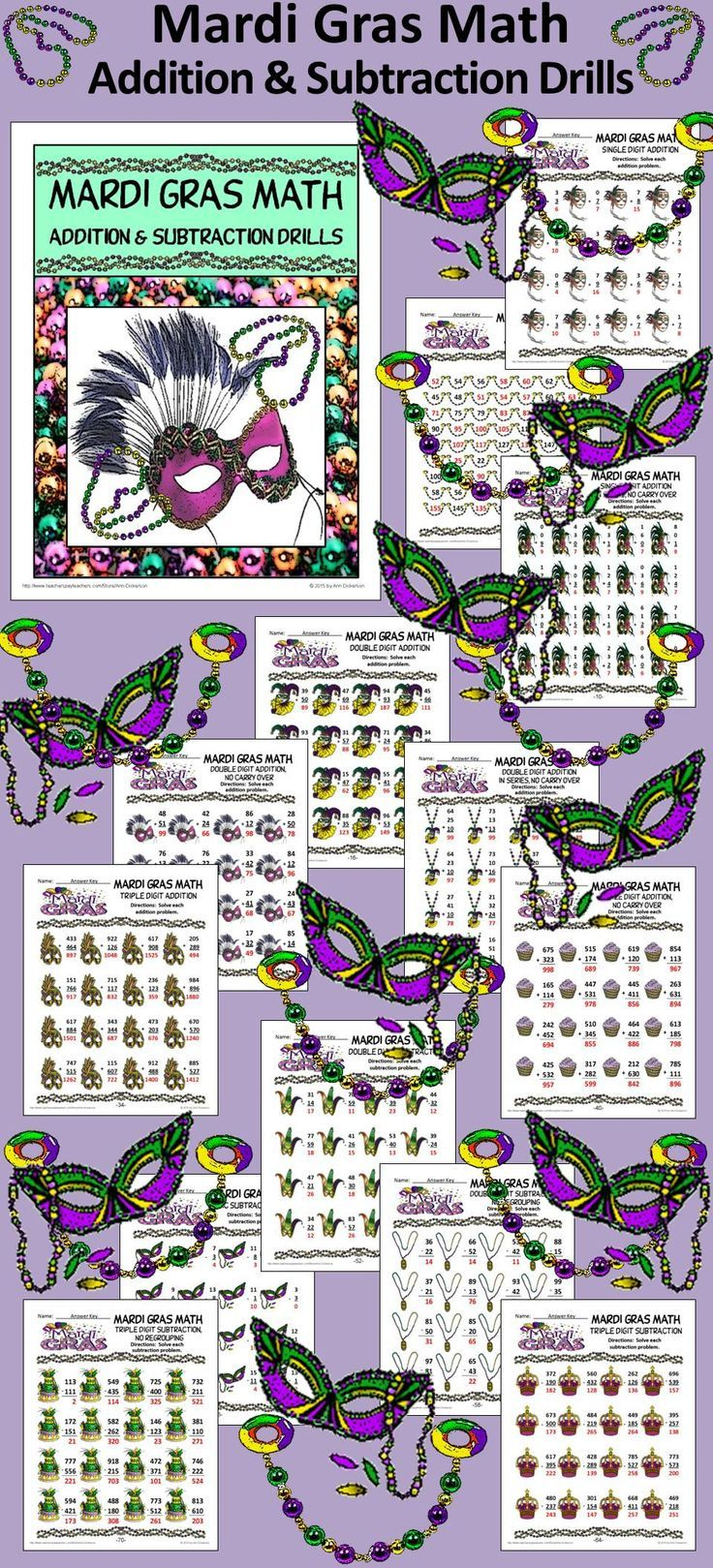 Mardi Gras Math Addition & Subtraction Drills: Providing practice for addition and subtraction skills.   Contents include 3 worksheets each: * Single Digit Addition * Single Digit Addition in Series, No Carryover * Double Digit Addition with & w/out  Carryover * Triple Digit Addition with & w/out  Carryover * Basic Subtraction Facts * Double Digit Subtraction with & w/out Regrouping * Triple Digit Subtraction with & w/out Regrouping * Skip Counting  #Mardi #Gras #Math #Worksheets…