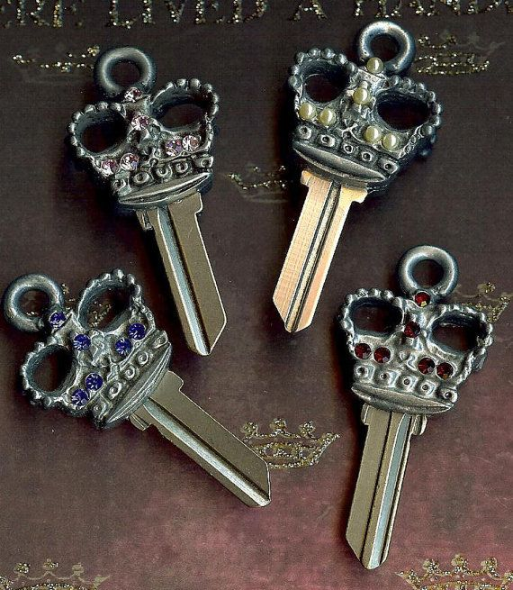 a key fit for a queen, the queens crown house key blank with swarovski crystals by keystomycastle...have one cut to your own castle
