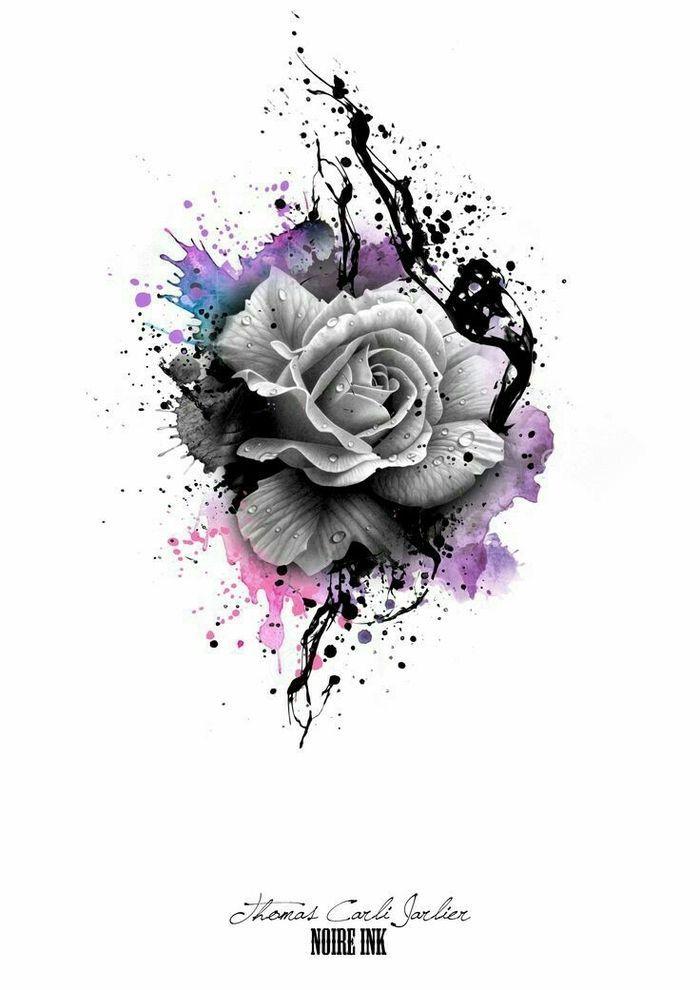 Disney Tattoo – graue rose und bunte farben rosen tattoo vorlage idee für einen tattoo für