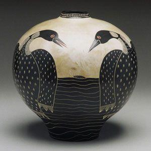 Ceramic Pot, Fishing Loons, Melissa Greene