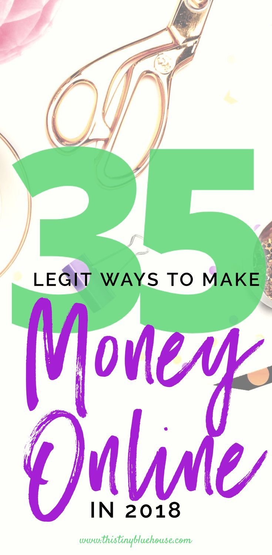 35 legitimate ways to make money online #sidehustling #extramoney #extracash #makemoneyonline #frugalliving #frugal #sidehustles