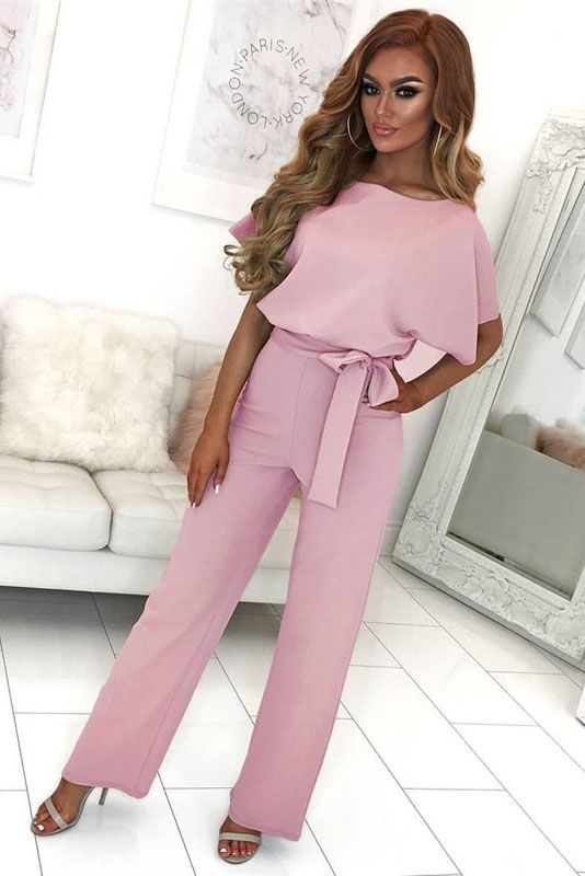 be0dfa87ed3 Short sleeve round neck long jumpsuit-Pink in 2019