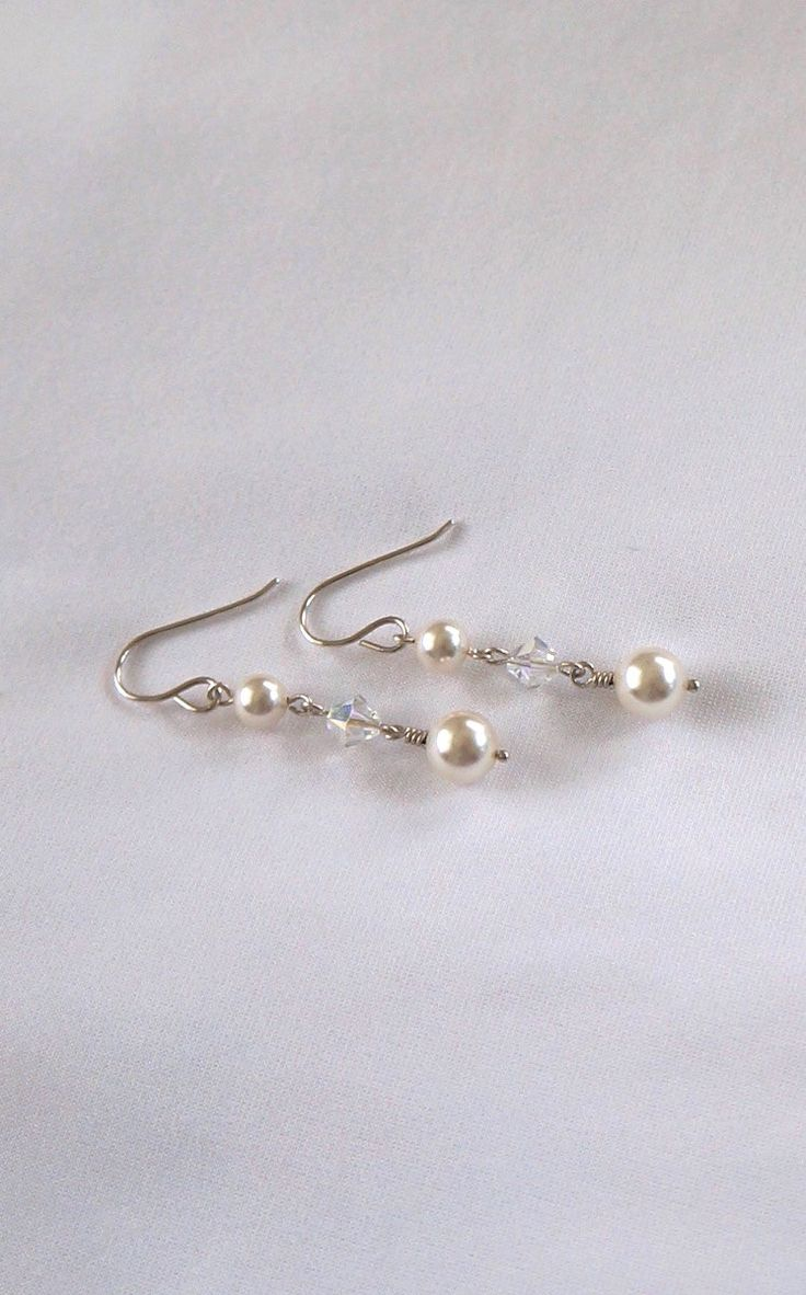 Long Earrings With Pearls, White Pearl Swarovski Drop Earrings, Silver And  White Dangle Earrings