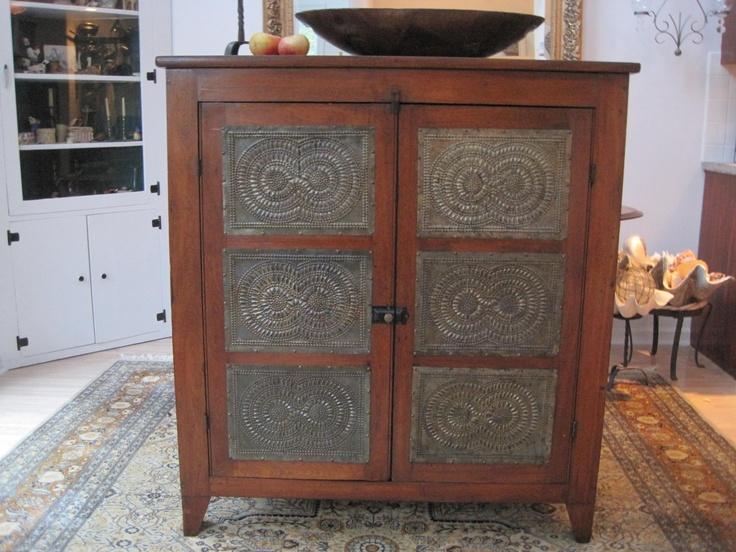 Antique 1800s Cherry Wood 12 Tin Pie Safe Cupboard For