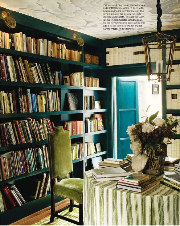 i like the idea of a colored bookshelf system.. makes the room pop