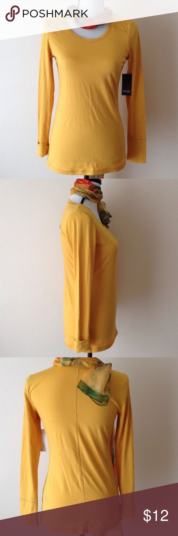 a.n.a. Mustard Shirt Cute basic stretchy shirt which makes a great layering piece or alone. Tag lists size as XS but this would also fit a small....especially if layering. a.n.a Tops Tees - Long Sleeve