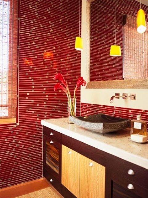 The Red Tile Wall And Backspash Is A Definite Focal Point In This Asian Style Bathroom Design