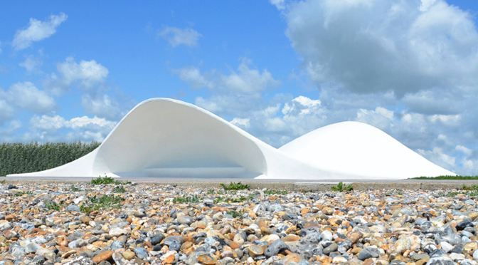 Acoustic Shell in painted concrete by Flanagan Lawrence located in the town of Littlehampton, U.K..