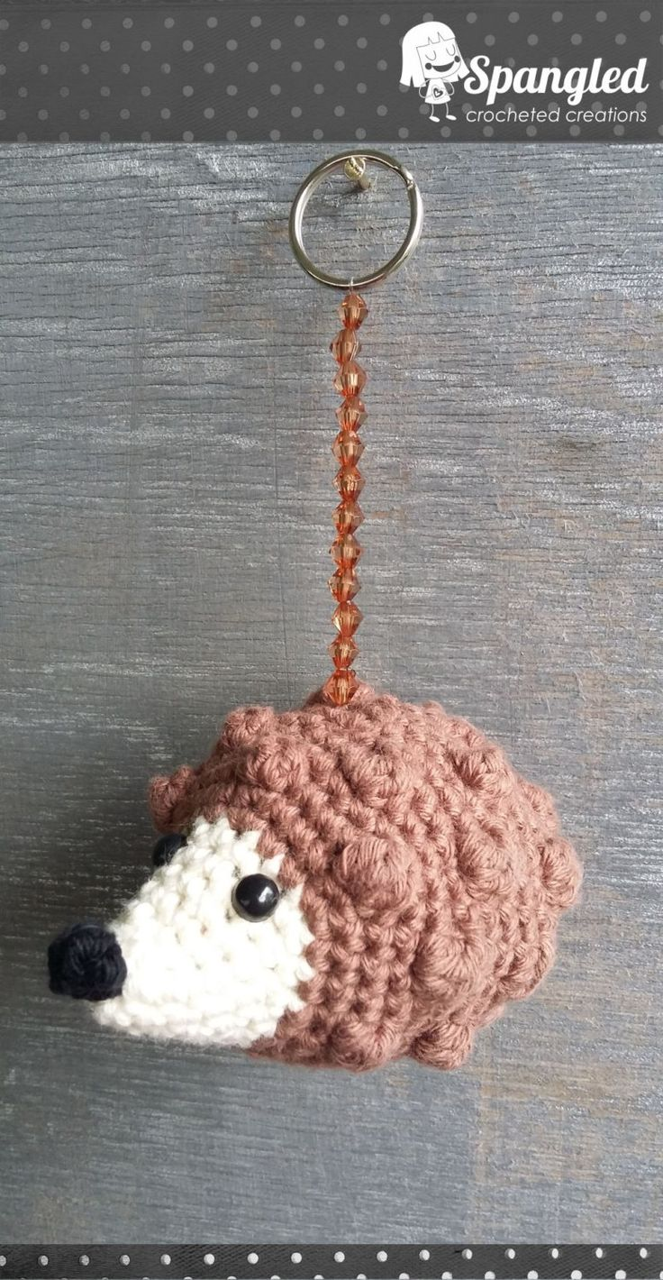 Hedgehog Amigurumi Keychain by SpangledCrochet on Etsy