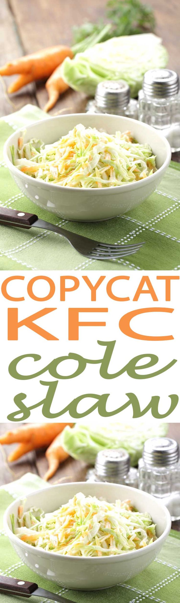 This has got to be the best cole slaw recipe we've tried. Our copycat KFC Cole Slaw is so good, and it is a great side to take to a pot luck or block party. Add this to your must make summer salad recipes.