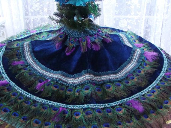 20 best Ivyndell Designs Peacock Feather Christmas Tree Skirts ...