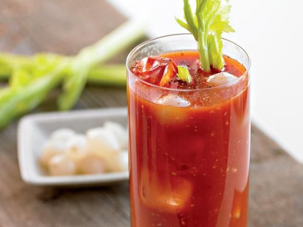 Bloody Mary via Prevention. 143 calories per serving. Combine 6 oz low-sodium vegetable juice, 1.5 oz vodka, juice of 1/4 lemon, 1 t prepared horseradish, 4 dashes Worcestershire sauce, pinch celery salt, & hot pepper sauce (to taste) in a tall glass. Stir vigorously.  Fill glass with ice & top with fresh ground black pepper. Garnish with a celery stick & pickled vegetables. Serves 1