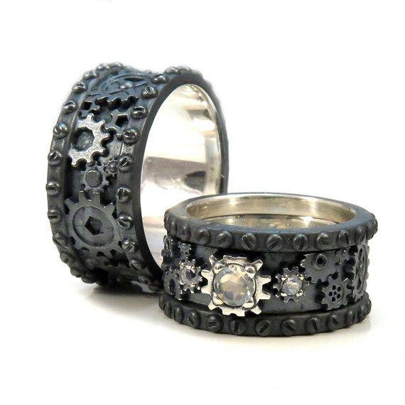 Sein und ihrs schwarz silber Gear Ringe - Steampunk Hochzeit Ring Set - facettierten Mondstein Stapeln Damen