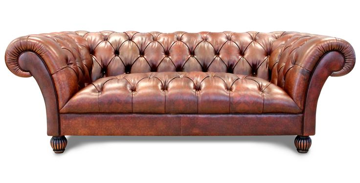 The standard Tetrad International Chesterfield sofa - but with a design printed on the leather. A lovely classical piece of furniture - available in Bangkok.