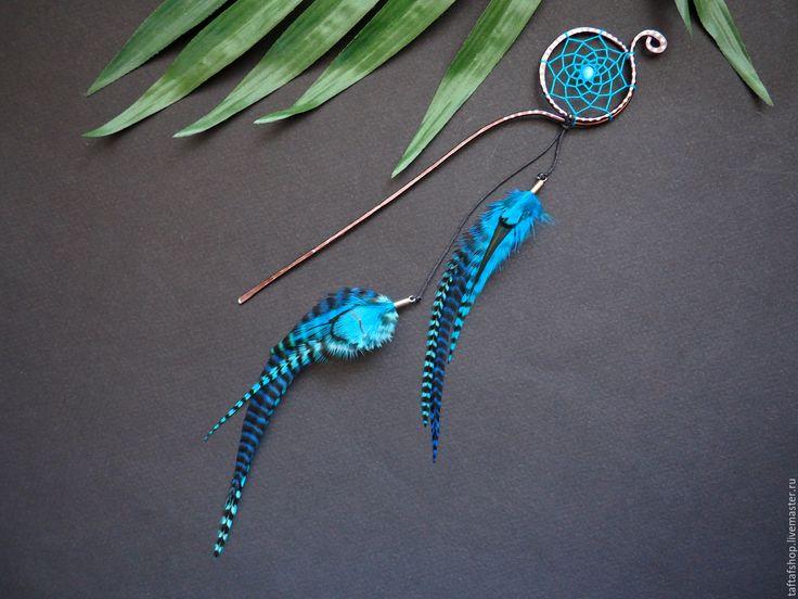 Купить Шпилька для волос, с перьями - Небосвод, бирюзовый, синий - перо, перья, перья в волосы