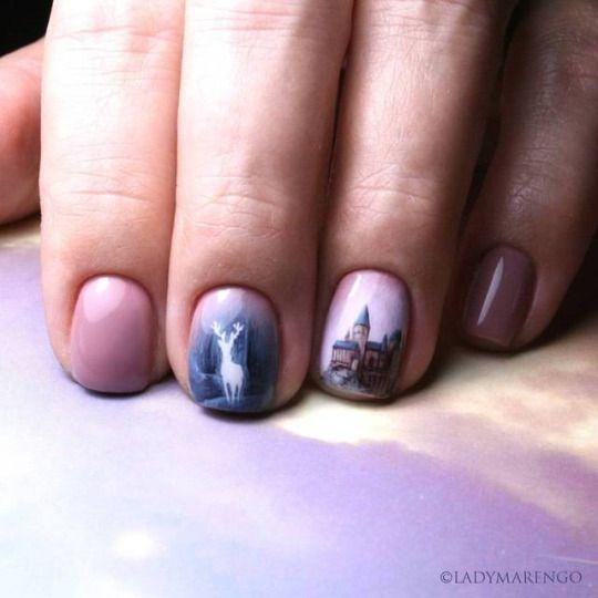Expecto Patronum nails  #geeknails #ladymarengo #шеллак #гельлак #нейларт #ногти #маникюр #дизайнногтей #nailart #naildesign #nails #гаррипоттер #гриффиндор #harrypotter#potter #expectopatronum #patronus #deer #hogwarts #патронус #хогвартс