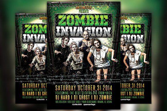 Zombie Invasion Halloween Flyer by Flyermind on @creativemarket - zombie flyer template