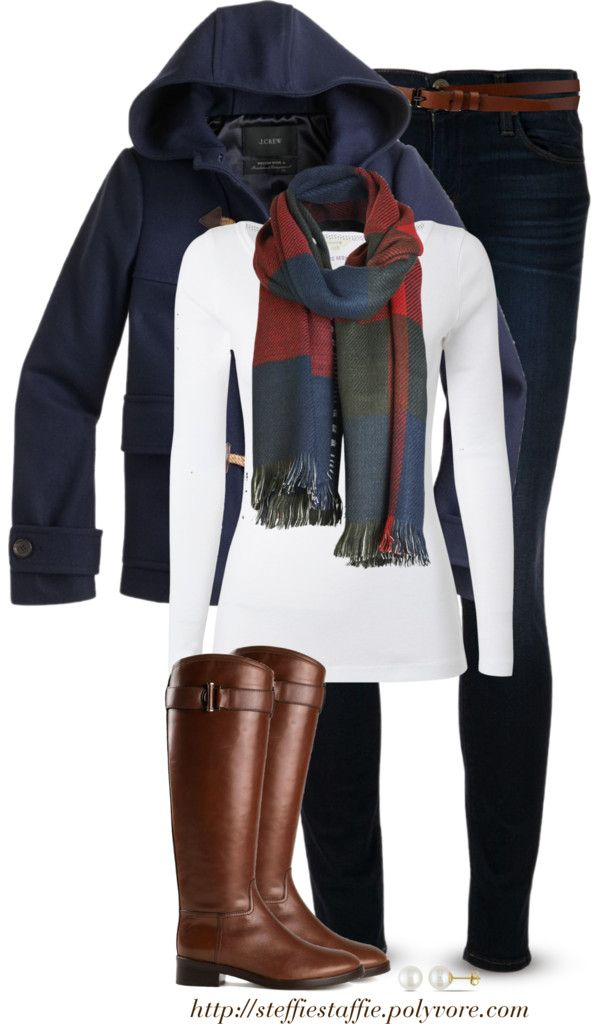 J.Crew duffle coat, Checked scarf & Riding boots