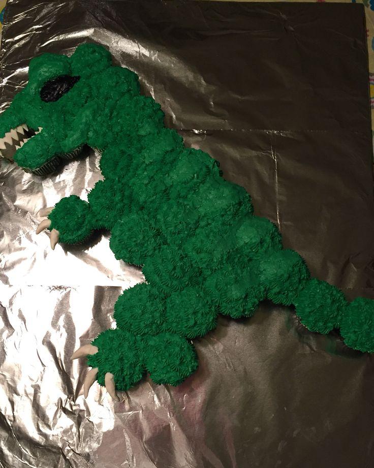 T-Rex cupcake cake
