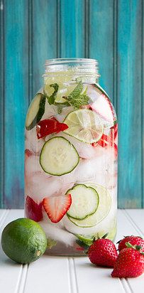Water infused with strawberry lime mint