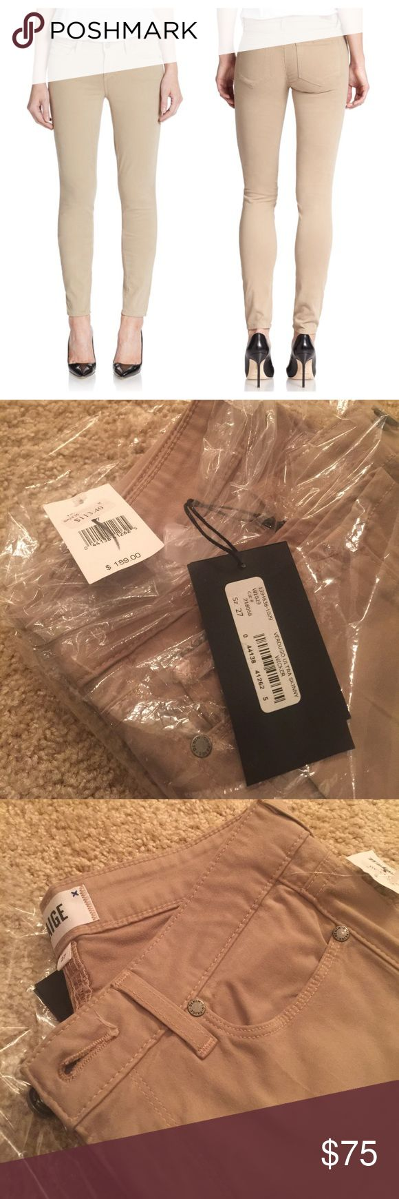 NWT! PAIGE Verdugo Ultra Skinny Wicker Beige Jeans Brand new with tags. Paige Jeans Pants Skinny