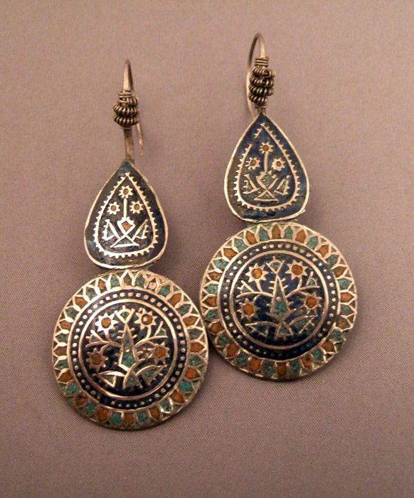 Pakistan | Earrings; silver and enamel. | Sold