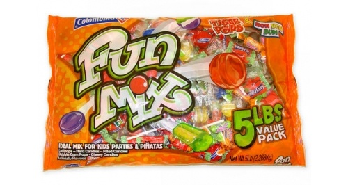 Colombina Candy Party Fun Mix Candy Value Bag. Assortment includes Lollipops, Hard Candies, Filled Candies, Bubble Gum Pops, and Chewy Candies. Great for Halloween, party bags, gift give aways, etc.  $10.00 http://www.candydirect.com/colombina-fun-mix-candy-5-lbs