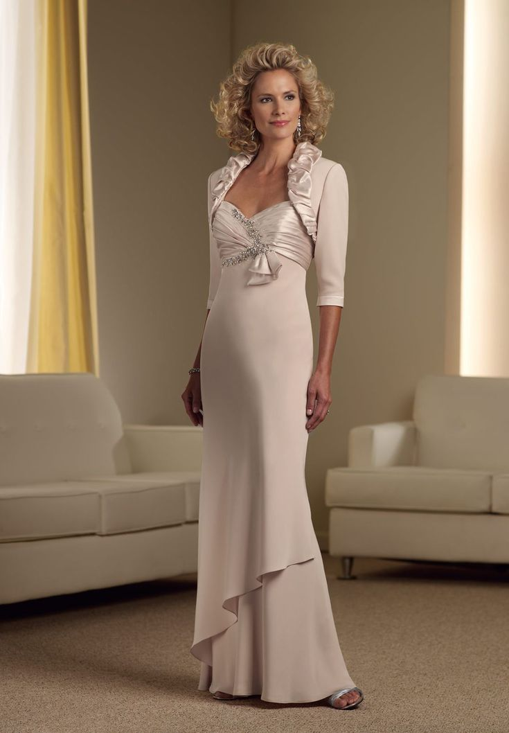 Chiffon Sweetheart Empire A-line Long Mother Of The Bride Dress with Removable Jacket - Mother of the bride - WHITEAZALEA.com