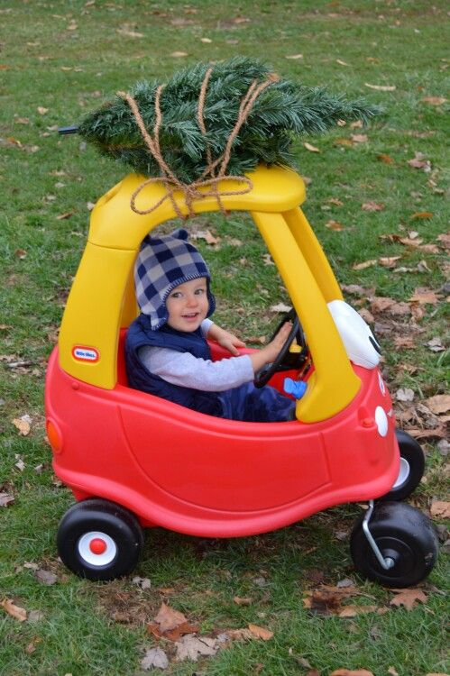 18 month old Cozy Coupe Christmas photo