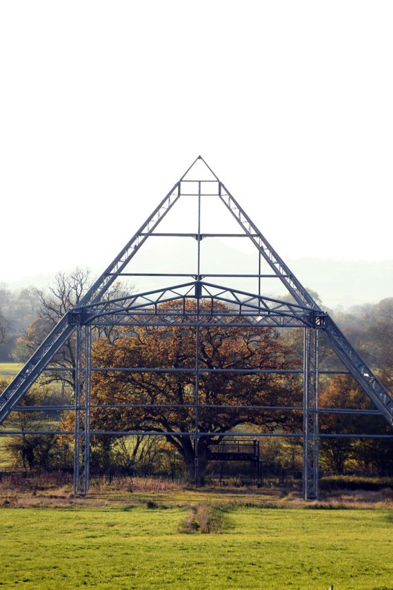 Glastonbury Festival's pyramid stage, just the frame when the festie's not on. Worthy Farm on an autumn day