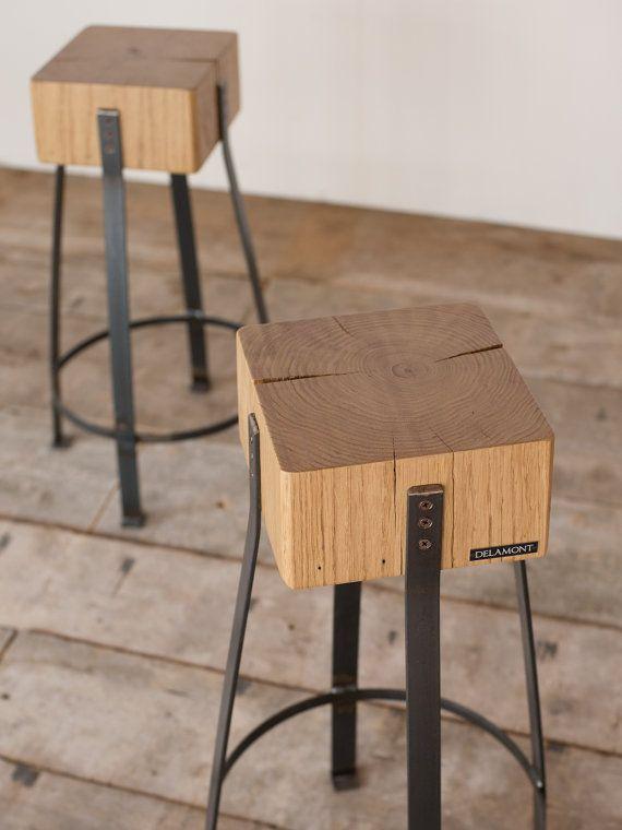 Delamont-pareja de taburetes de castaño por IndustrieDelamont
