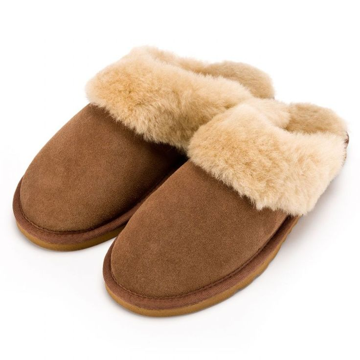 Deluxe Sheepskin Slippers Fantastic Ladies Sheepskin Slipper Mule Genuine  Sheepskin Lining and cuff Sole rubber Lightweight Hard NonSlip EVA Sole