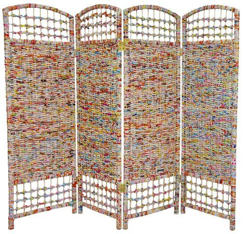 Amazon Com Oriental Furniture 4 Ft Tall Recycled Magazine Room Divider 3 Panels