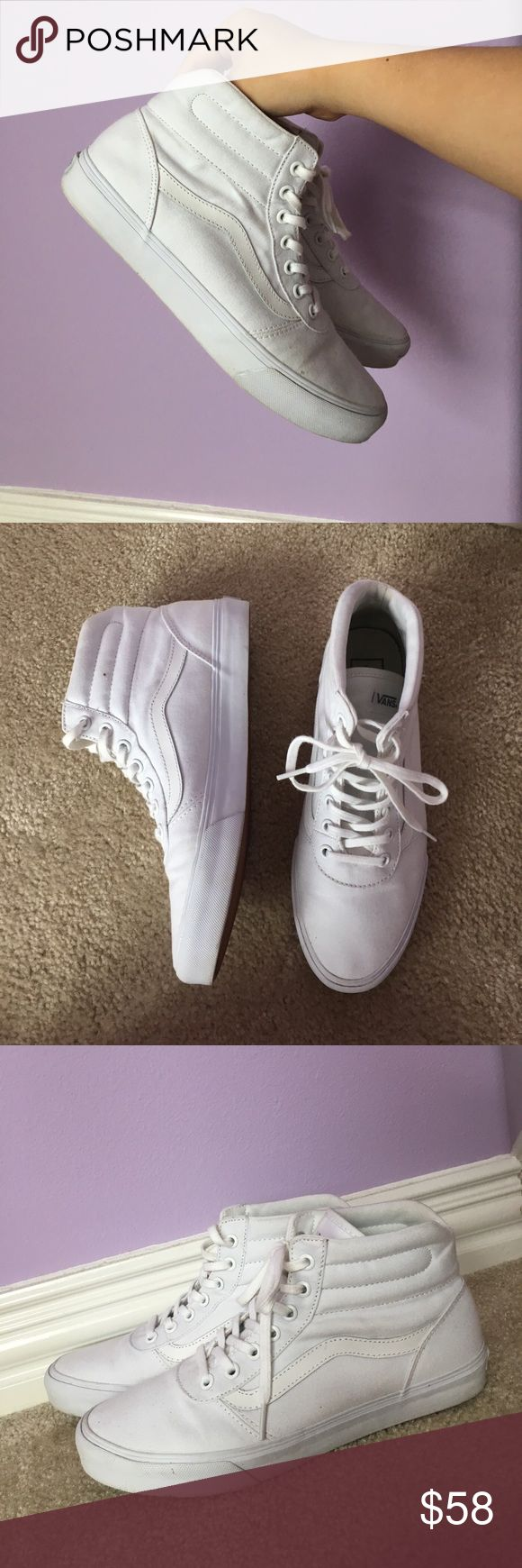 All white Vans size 8.5 too big, no scruffs or stains. Almost as good as new. Bought from previous seller on M.Ercari but once again, too big on me. Previous seller only wore once/twice and I wore it once to try on. No odor. Need gone asap Vans Shoes Sneakers