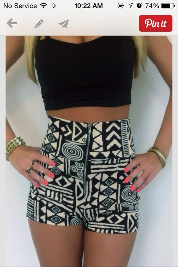 High waist tribal shorts and Black Belly shirt