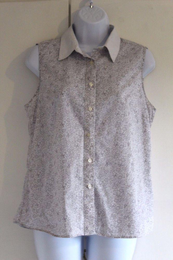 THE SAVILE ROW COMPANY Sleeveless Blouse UK Size 14 White and Grey VGC