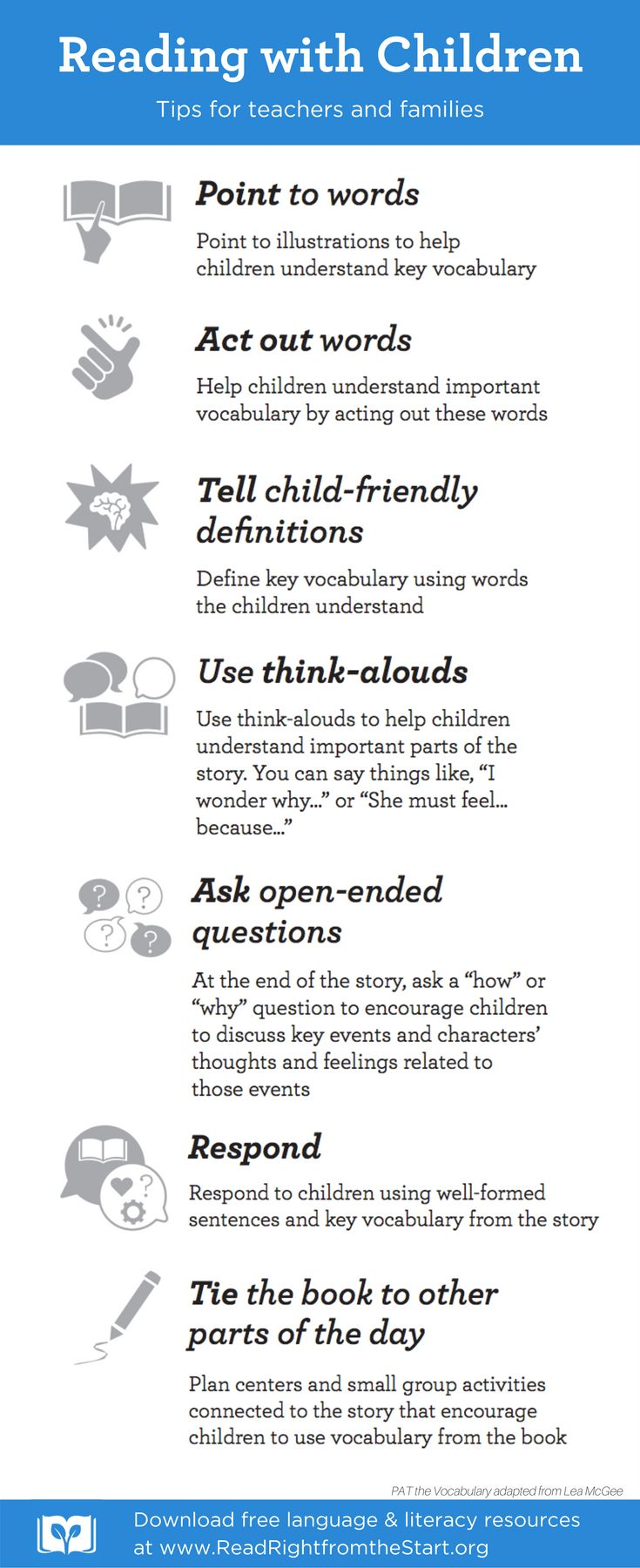 Seven tips for teachers and families to read with children and keep them learning all year long. Visit www.readrightfromthestart.org for more early education resources and reading activities.