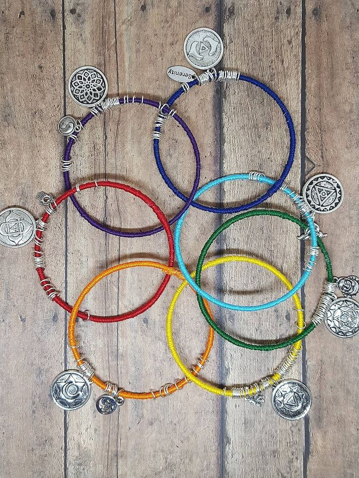 Healing Chakra Bangle Charm Bracelet Set.  Wrapped bangle charm bracelets.  Chakra bangle bracelets.  Chakra gemstone charm bracelets. by PieceOfInspiration on Etsy
